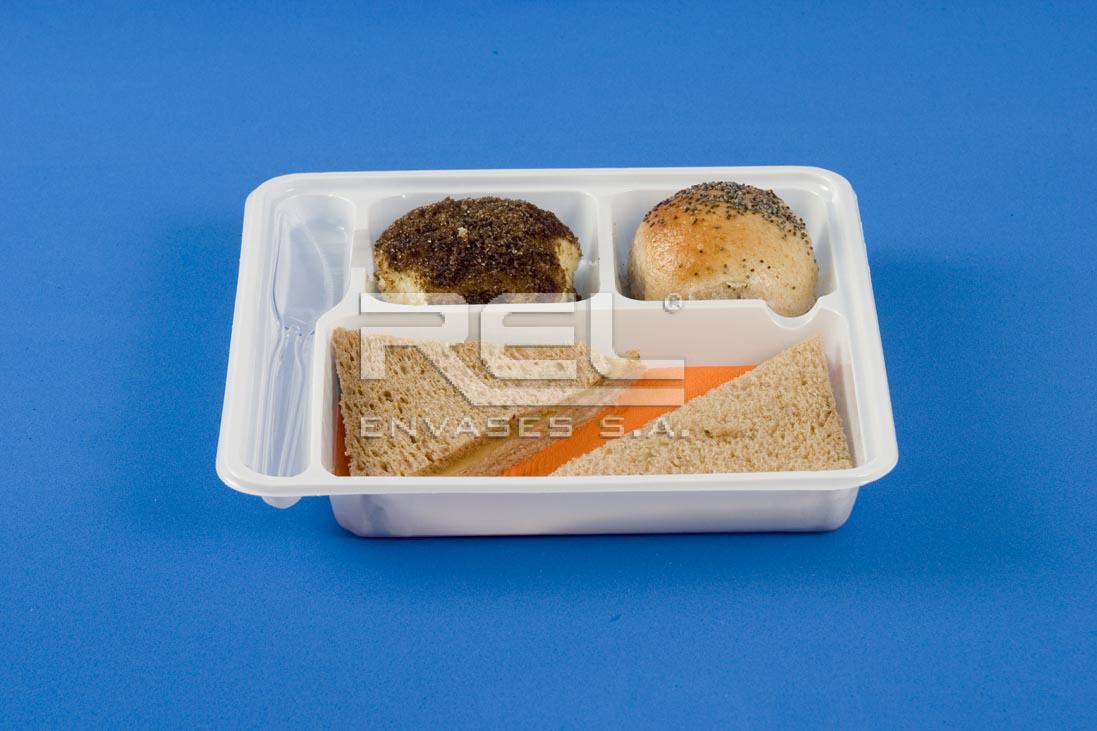 Bandeja 3 divisiones c cub blanca rel envases for Taper de comida